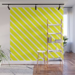 Neon Yellow Diagonal Stripes Wall Mural