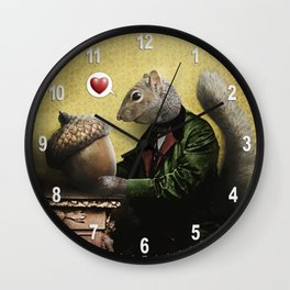 Mr. Squirrel Loves His Acorn! Wall Clock