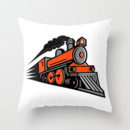 Steam Locomotive Speeding Mascot Throw Pillow