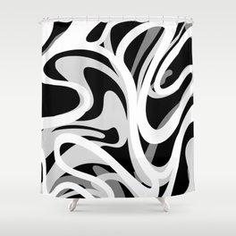 Finger Paint Swirls - Gray, Black and White Shower Curtain