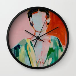 Woman red and green Wall Clock