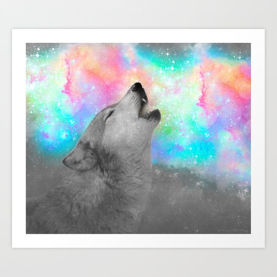 Breathing Dreams Like Air (Wolf Howl Abstract II: Gray) Art Print