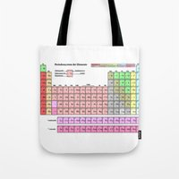 periodic table Tote Bags featuring Periodic Table Of  The Elements by GrafXthings