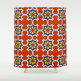 Talavera Mexican Bold Yellow Flora with Red Background Shower Curtain