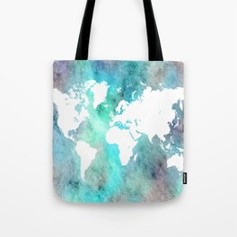 Design 62 World Map Turquoise Aqua Tote Bag