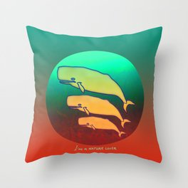 Nature Lover / Whales Throw Pillow
