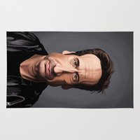 celebrity Area & Throw Rugs featuring Celebrity Sunday ~ David Duchovny by rob art | illustration