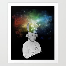 Albert Einstein With A Rainbow Galaxy Art Print