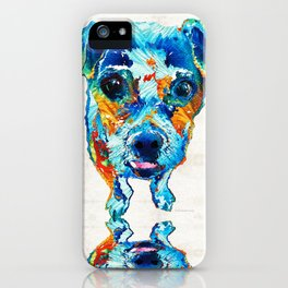 Colorful Little Dog Pop Art by Sharon Cummings iPhone Case