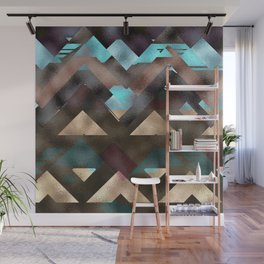 Bronze Brown Blue Burgundy Metal Abstract Mountains Wall Mural