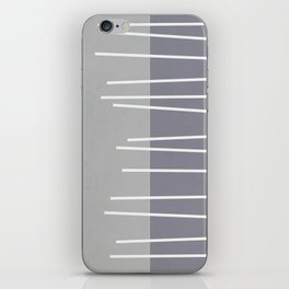 Mid century modern textured gray stripes iPhone Skin