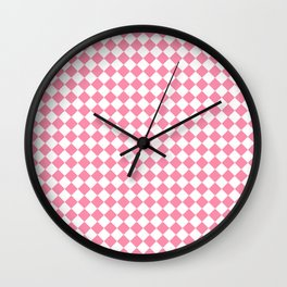 Small Diamonds - White and Flamingo Pink Wall Clock