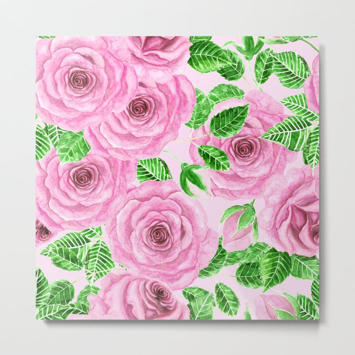 Pink watercolor roses with leaves and buds pattern Metal Print