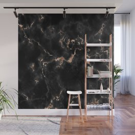 Rose Gold and Black Marble Wall Mural