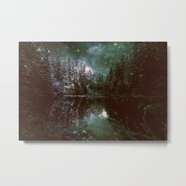A Cold Winter's Night Forest Green Metal Print