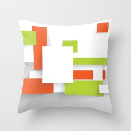 GREEN ORANGE SQUARES Abstract Art Throw Pillow