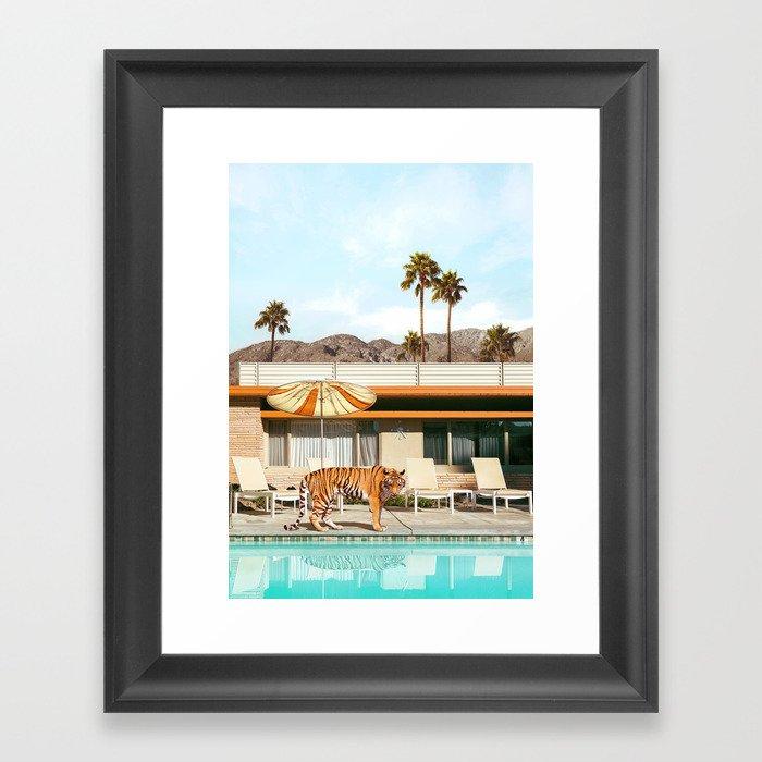 Pool Party Tiger Framed Art Print