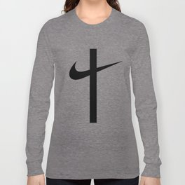 Swoosh Cross (... And Deliver Us From Evil) / Black Long Sleeve T-shirt