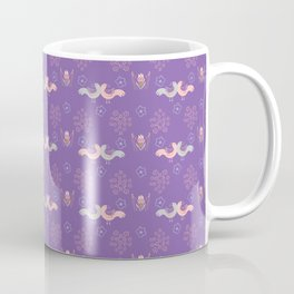 Purple Boho Folk Art Daisies & Love Birds Coffee Mug