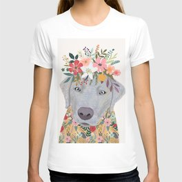 Silver Labrador with Flowers T-shirt