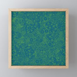 Clockwork Turquoise & Lime / Cogs and clockwork parts lineart pattern Framed Mini Art Print