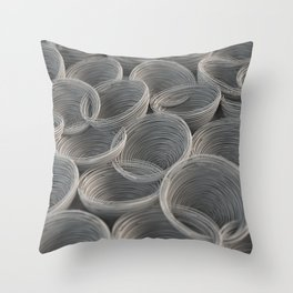 White spiraled coils Throw Pillow
