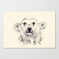 Polar Bear Smiling Black and White Canvas Print