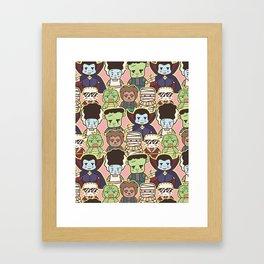 Kawaii Little Monsters Series 1 Pattern Print Framed Art Print