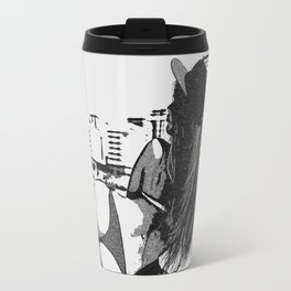 At the beach - sexy girl, black and white, hot rear, booty view, perfect fit and curvy body shapes, Travel Mug