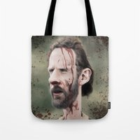 rick grimes Tote Bags featuring Rick Grimes by dbruce