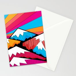 Winter rainbow mountains Stationery Cards