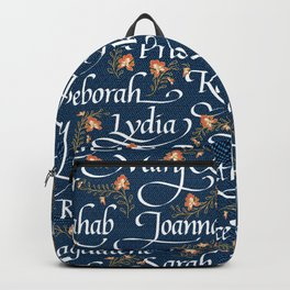 Calligraphy: Godly Women of the Bible | Denim Backpack