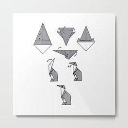 Origami Penguin Metal Print