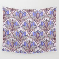 bedding Wall Tapestries featuring Art Deco Lotus Rising 2 - sage grey & purple pattern by micklyn