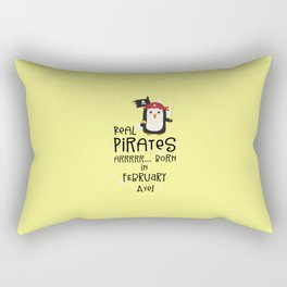 Real Pirates are born in FEBRUARY T-Shirt D3b8l Rectangular Pillow