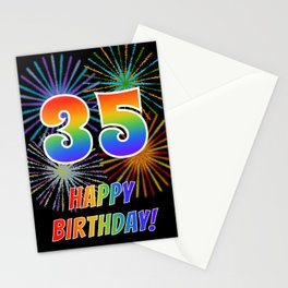 "35th Birthday ""35"" & ""HAPPY BIRTHDAY!"" w/ Rainbow Spectrum Colors + Fun Fireworks Inspired Pattern Stationery Cards"