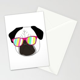 Pug,dog  with sunglasses illustration Stationery Cards
