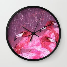 Flamingo Frenzy Wall Clock