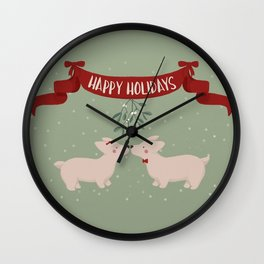 Posters and Art Corgi Happy Holidays - Kiss Under The Mistletoe Wall Clock
