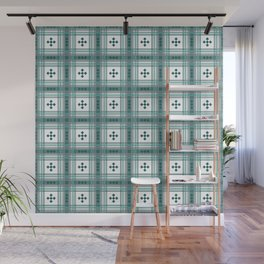 Preppy Plaid in Teal, Gray and White Wall Mural
