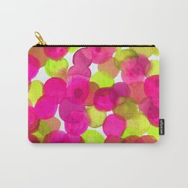 Watercolor Circles - Pink & Lime Green Carry-All Pouch