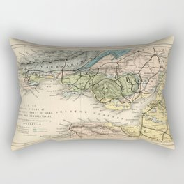Vintage Map of the Coal Fields of South Wales - Forest Of Dean - Bristol and Somersetshire Rectangular Pillow