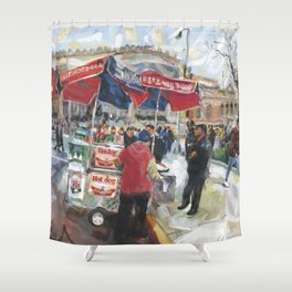 Hot dogs and soda sell well on the street outside the Metropolitan Museum, New York Shower Curtain