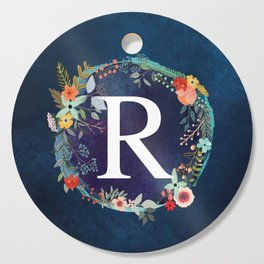 Personalized Monogram Initial Letter R Floral Wreath Artwork Cutting Board