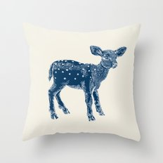 Dear Deer, Indigo on Vanilla Throw Pillow