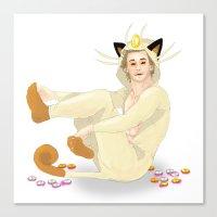 onesie Canvas Prints featuring Remy + Meowth Onesie by wowcherrim