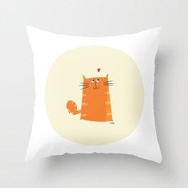 Paper Bag Cat Throw Pillow