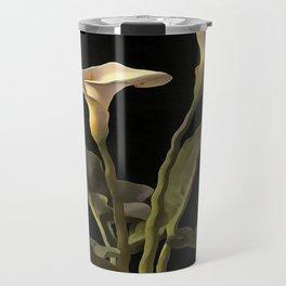 White Calla Lilies On A Black Background Travel Mug