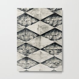 Old stone facade in Bari, Italy | Black and White Metal Print