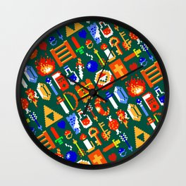 The Legend of Z | legendary items pattern | green Wall Clock